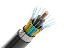 Détail de câble à fibres optiques de fibre Images libres de droits