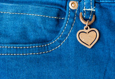 Détail de coeur de jeans Photos stock