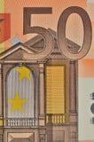 Un regard étroit de billet de banque de l'euro 50 Images libres de droits