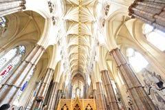 Détails gothiques intérieurs d'Abbaye de Westminster Image stock