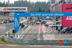 DTM (Deutsche Tourenwagen Meisterschaft) em MRW (canal adutor), Moscou de Moscou, Rússia, 2013-08-04 Fotos de Stock Royalty Free