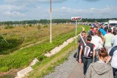 DTM (Deutsche Tourenwagen Meisterschaft) em MRW (canal adutor), Moscou de Moscou, Rússia, 2013 08 04 Imagem de Stock Royalty Free