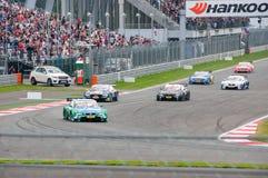 DTM (Deutsche Tourenwagen Meisterschaft) en MRW (alcantarilla) de Moscú, Moscú, Rusia, 2013-08-04 Imagen de archivo