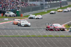 DTM (Deutsche Tourenwagen Meisterschaft) en MRW (alcantarilla) de Moscú, Moscú, Rusia, 2013-08-04 Fotografía de archivo