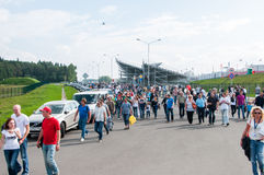 DTM (Deutsche Tourenwagen Meisterschaft) MRW (莫斯科跑道),莫斯科,俄罗斯, 2013年 08 04 免版税库存照片