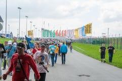 DTM (Deutsche Tourenwagen Meisterschaft) op MRW (het Toevoerkanaal van Moskou), Moskou, Rusland, 2013-08-04 Stock Fotografie