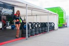 DTM (Deutsche Tourenwagen Meisterschaft) op MRW (het Toevoerkanaal van Moskou), Moskou, Rusland, 2013-08-04 Stock Foto