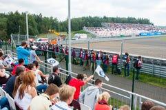 DTM (Deutsche Tourenwagen Meisterschaft) op MRW (het Toevoerkanaal van Moskou), Moskou, Rusland, 2013-08-04 Royalty-vrije Stock Foto