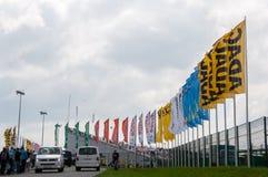 DTM (Deutsche Tourenwagen Meisterschaft) op MRW (het Toevoerkanaal van Moskou), Moskou, Rusland, 2013-08-04 Stock Foto's