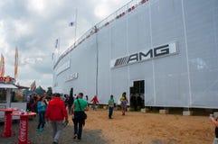 DTM (Deutsche Tourenwagen Meisterschaft) op MRW (het Toevoerkanaal van Moskou), Moskou, Rusland, 2013-08-04 Stock Afbeeldingen