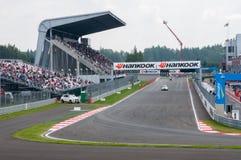 DTM (Deutsche Tourenwagen Meisterschaft) su MRW (canalizzazione) di Mosca, Mosca, Russia, 2013-08-04 Immagine Stock Libera da Diritti