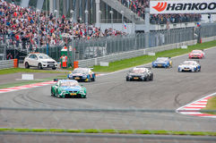 DTM (Deutsche Tourenwagen Meisterschaft) sur MRW (caniveau de Moscou), Moscou, Russie, 2013-08-04 Image stock