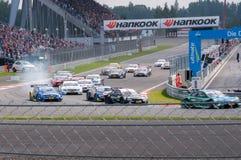 DTM (Deutsche Tourenwagen Meisterschaft) sur MRW (caniveau de Moscou), Moscou, Russie, 2013-08-04 Images libres de droits
