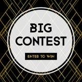 Duży konkurs Wchodzić do wygrywać Wektorowy sztandar dla ogólnospołecznych środków royalty ilustracja