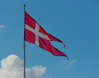 Duńska flaga państowowa. Zdjęcia Royalty Free