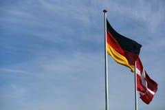 Duńska i niemiecka flaga wpólnie zdjęcie royalty free