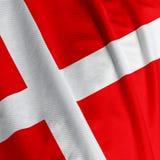 duńska zbliżania flagę Zdjęcia Royalty Free