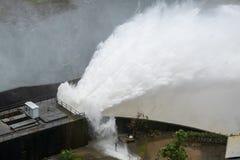Duża beton tamy drenażu woda Dużo zrobił Dużej powodzi zdjęcie royalty free