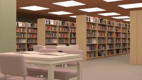 Duża biblioteka z stołem, krzesłami i półka na książki, Zdjęcia Royalty Free