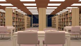 Duża biblioteka z stołem, krzesłami i półka na książki, Zdjęcie Stock