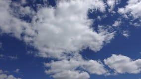 Duża biel chmura przy niebieskiego nieba tłem, Timelapse Chmury w świetle słonecznym wysokim w niebie zbiory wideo