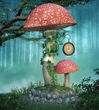 Duża czerwieni pieczarka w mgłowym lesie ilustracji