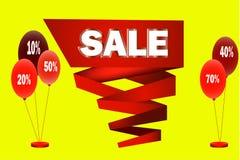 Duża czerwona taśma z sprzedażą w centrum Zdjęcie Stock