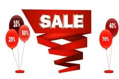 Duża czerwona taśma z sprzedażą w centrum odosobnionej wektorowej ilustraci Zdjęcia Stock