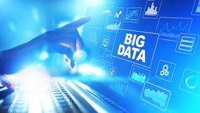 Duża dane analiza, business intelligence, technologii rozwiązań pojęcie na wirtualnym ekranie obraz stock