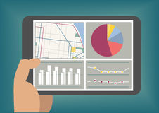 Duża dane i analityka deska rozdzielcza wystawiająca na pastylka ekranie jako ilustracja ilustracja wektor