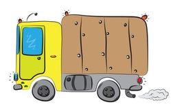 Duża doręczeniowa ciężarówka z ładunek skrzynki jeżdżeniem na drodze Zdjęcie Royalty Free