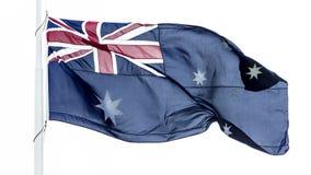 Duża flaga Australia falowanie w wiatrze odizolowywającym przeciw białemu tłu obraz stock