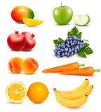 Duża grupa różny owoc i warzywo ilustracja wektor