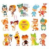 Duża ikona ustawiająca śliczne chłopiec i dziewczyny w zwierzę kostiumach Obraz Royalty Free