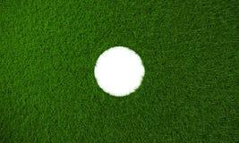 Duża kółkowa dziury prawa strona trawy tło - 3D rendering Obrazy Stock