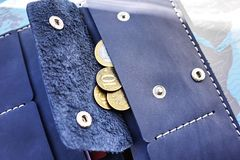 Duża kiesa Ja może dostosowywać wszystkie twój pieniądze, monety, paszport, karty kredytowe banki i rabat karty sklepy, obrazy stock
