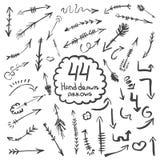 Duża kolekcja ręka rysujący symbole i strzała Zdjęcia Royalty Free