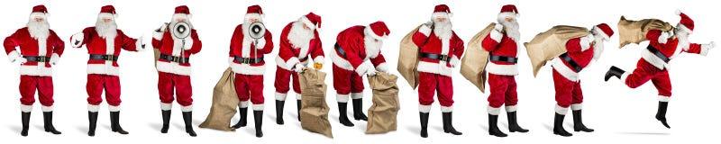 Duża kolekcja Santa Claus czerwony biały odosobniony tło obraz stock