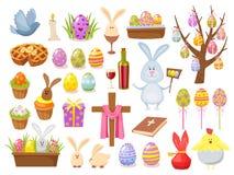 Duża kolekcja Szczęśliwi Wielkanocni przedmioty Płaska projekta wektoru ilustracja Set wiosny Religijny Chrześcijański Kolorowy Zdjęcia Royalty Free