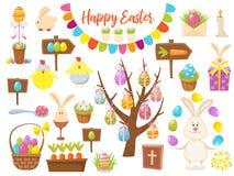 Duża kolekcja Szczęśliwi Wielkanocni przedmioty Płaska projekta wektoru ilustracja Set wiosny Religijny Chrześcijański Kolorowy Zdjęcia Stock