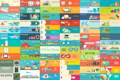 Duża kolekcja sztandary w mieszkanie stylu W Ustalonych tematach: biznes, lotnisko, online warsztat, podróż, medycyna, eco, wiado ilustracja wektor