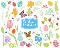 Duża kolekcja wiosna kwitnie, Easter jajka, króliki obrazy stock