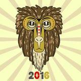 Duża małpa: znak 2016 w non tradycyjnym sposobie ilustracja wektor