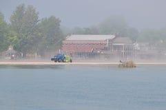 Duża mgła na Jeziornym Ontario, brać w Rochester Fotografia Royalty Free