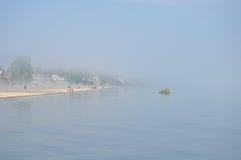 Duża mgła na Jeziornym Ontario, brać w Rochester Obrazy Royalty Free