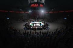 Duża mma walcząca arena z udziałami fan 3d rendering Zdjęcie Royalty Free