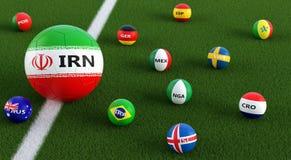 Duża piłki nożnej piłka w Irans obywatela kolorach otaczających małymi piłek nożnych piłkami w innych krajowych kolorach Obrazy Stock