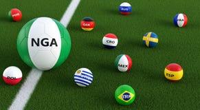 Duża piłki nożnej piłka w Nigeria obywatela kolorach otaczających małymi piłek nożnych piłkami w innych krajowych kolorach ilustracji