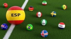 Duża piłki nożnej piłka w Spains obywatela kolorach otaczających małymi piłek nożnych piłkami w innych krajowych kolorach Obraz Royalty Free
