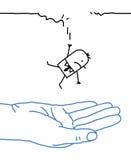 Duża ręka z postać z kreskówki - spadać ilustracja wektor